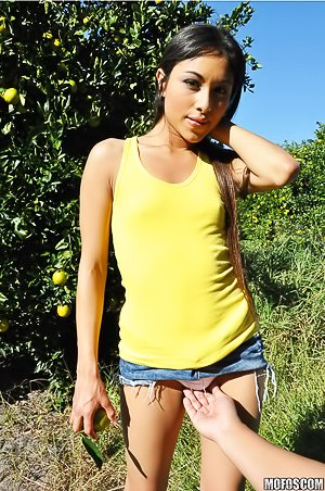 Denim shorts Latina gets banged from behind in POV, in the forest