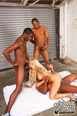 Wavy-haired blonde gets gang-banged by BBCs, her hubby cleans up