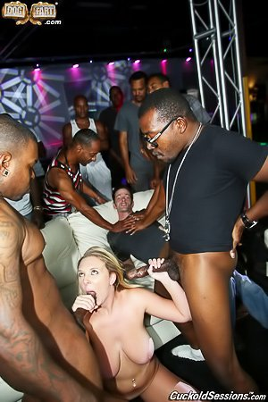 Crazy party with a blonde that gets gang-banged by BBCs with her hubby
