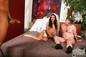 Busty brunette bride fucks a black man with her cuckold watching