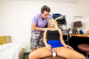 Thick blue-eyed blonde gets destroyed from behind, in POV, on a couch