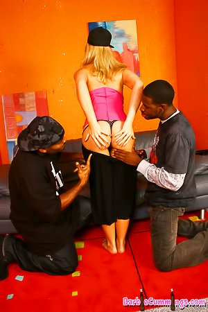 Busty blonde in a pink top gets double teamed by black dudes