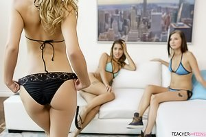 Three girls in sexy panties end up fucking each other on a couch