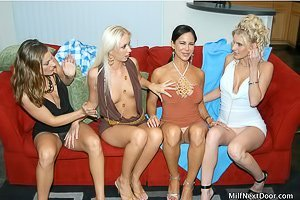 Blondes and brunettes enjoying their pussy eating/strap-on fucking session