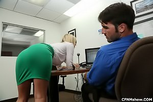 Tight skirt office slut sucking a meaty cock of her well-endowed coworker