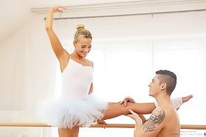 Ballerina blonde gets destroyed by her tatted-up dance partner