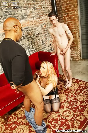 Pudgy blonde in a collar fucks a black guy in front of her cuck