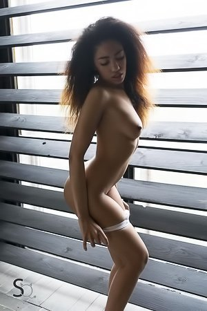Frizzy hair ebony bombshell showing her dark-skinned body on a bed