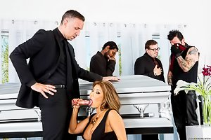 Dress-wearing and busty Asian beauty gets licked/dicked at a funeral