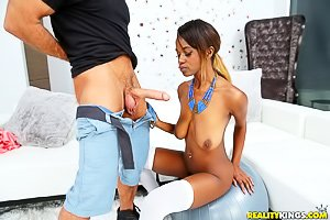 Ebony seductress in white stockings gets wrecked by a huge white cock