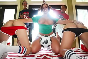 USA-loving soccer-enjoying babes get fucked side by side on a couch