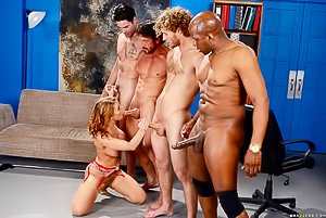 Glasses-wearing interviewee hottie gets gang-banged by four dudes