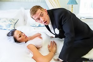 Busty and tanned bride gets banged by someone who's not her groom