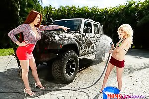 Tall redhead fucking her skinny blonde friend after a car wash