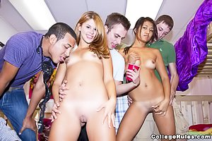 Exotic beauties getting blow-banged and gang-banged during a college party