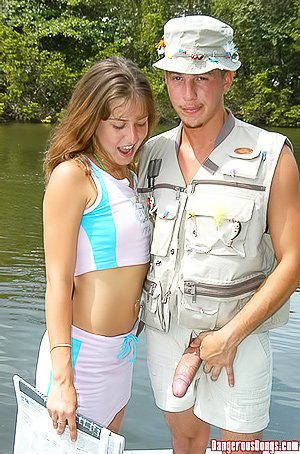 Luxurious brunette teen gets fucked by a big-dicked fisherman