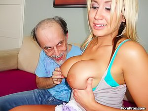 Tanned blonde with white fishnets fucking a creepy old geezer