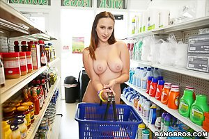Skirt-wearing seductress gets her tight pussy plowed in the store