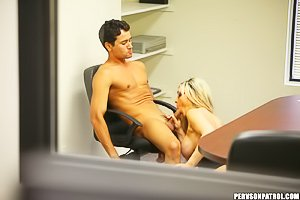 Blond-haired office MILF in glasses gets banged on the floor