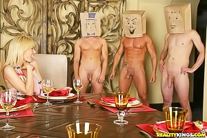 Paper bag mask orgy featuring three MILF girlfriends and several hung dudes