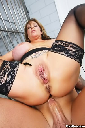 Oiled tits MILF cop lady gets brutally banged behind the bars