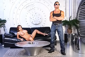 Busty and thick brunette gets brutally banged on a big leather couch